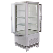 Winco CRD-1 Countertop Refrigerated Beverage Display, 120V, 180W, Curved Doors - Winco