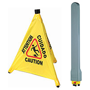 Winco CSF-SET Caution Sign, Pop-up Safety Cone with Storage Tube - Winco