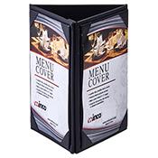 "Winco LMTT-57BK Black Triple Panel Table Tent For 5x7"" Inserts - Winco"
