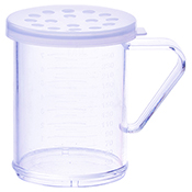 Winco PDG-10CXL 10 Oz Dredge with Clear Snap-On Lid Extra Large Hole - Winco