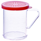 Winco PDG-10R 10 Oz Dredge with Rose Snap-On Lid - Winco