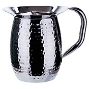 Winco WPB-3CH 3-Quart Hammered Bell Pitcher with Ice Guard - Winco