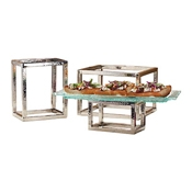 American Metalcraft HMRRSET Hammered Frame Riser Set - Display Risers