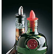 Carlisle Chrome/Black Collar Free Flowing Liquor Pourers - Carlisle