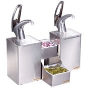 San Jamar P4826 Condiment System w/Metal Finish Pumps - Condiment Servers