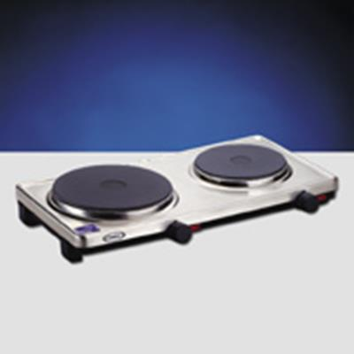 Cadco DKR-S2 120V Double Cast Iron Electric Hotplate and Buffet Range - Hot Plates