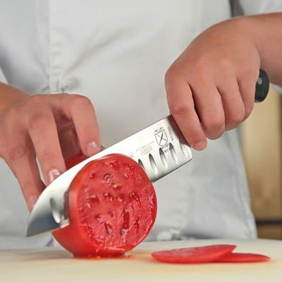 "Mercer Culinary 7"" Forged Riveted Santoku Knife - Granton Edge"