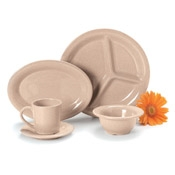"Carlisle Bone 10-1/2"" 3-Compartment Plates - Dinner Plates"