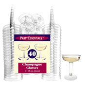 Party Essentials CHAMP4-10-40 Clear 2-Pc Champagne Glasses, 40 ct. - Party Essentials