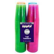 Party Essentials N1010090 Assorted Neon 10 oz Tumblers, 100 ct. - Party Essentials