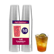 Party Essentials N105021 Clear 10 oz Tumblers, 50 ct. - Party Essentials