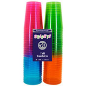 Party Essentials N105090 Assorted Neon 10 oz Tumblers, 50 ct. - Party Essentials