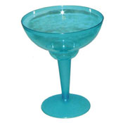 Party Essentials N121005 Neon Blue 2-Pc Margarita Glasses - Party Essentials