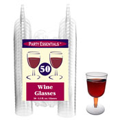 Party Essentials N55021 2-Pc Clear Wine Glasses, 50 ct. - Party Essentials
