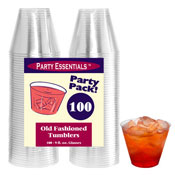 Party Essentials N910021 Clear 9 oz Tumblers, 100 ct. - Disposable Cups & Lids