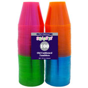 Party Essentials N910090 Assorted Neon 9 oz Tumblers, 100 ct. - Disposable Cups & Lids