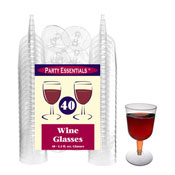 Party Essentials WINE5-10/40 2-Pc Clear Wine Glasses, 40 ct. - Party Essentials