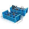 Carlisle Opticlean Perma-San Blue Flatware Basket with Handles