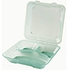 G.E.T. Clear 3-Compartment Eco-Clamshells with Curved Compartments