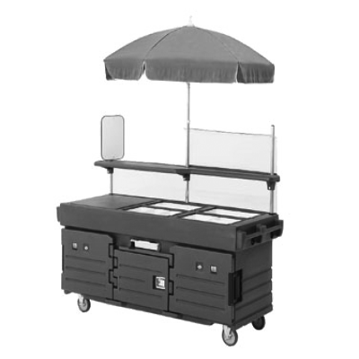 Cambro KVC854C158 Camkiosk Cart with 4 Pan Wells & Beige Canopy