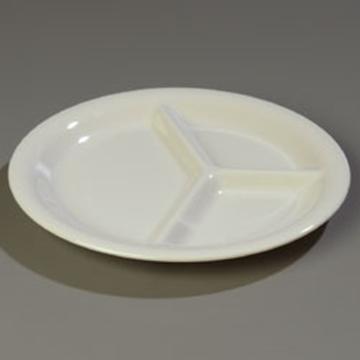 "Carlisle Bone 10-1/2"" 3-Compartment Plates"