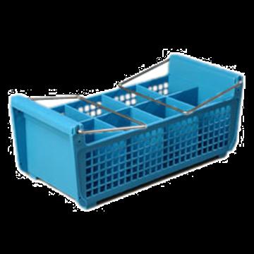 Carlisle Opticlean Perma-San Blue Flatware Basket with Handles