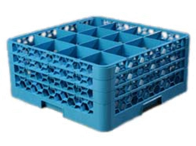 Carlisle 16-Compartment Blue Glass Rack with 3 Blue Extenders
