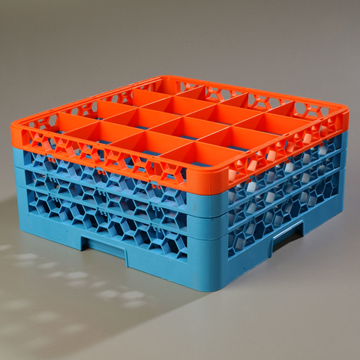 Carlisle 16-Compartment Blue Glass Rack with 3 Orange Extenders