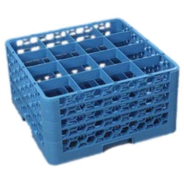 Carlisle 16-Compartment Blue Glass Rack with 4 Blue Extenders