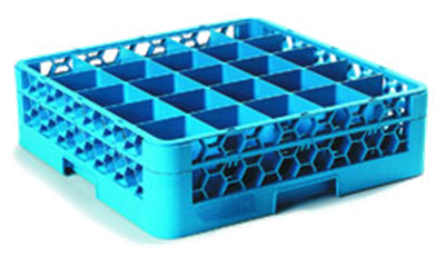 Carlisle 25-Compartment Blue Glass Rack with 1 Blue Extender