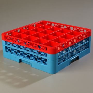 Carlisle 25-Compartment Blue Glass Rack with 2 Red Extenders