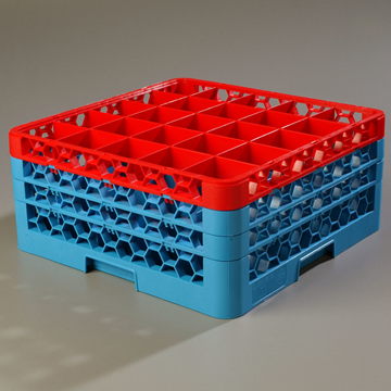 Carlisle 25-Compartment Blue Glass Rack with 3 Red Extenders