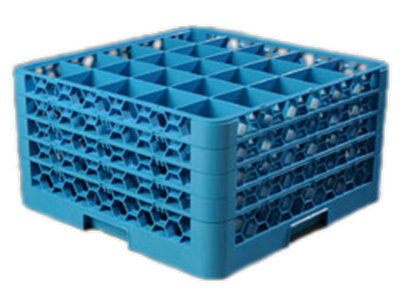 Carlisle 25-Compartment Blue Glass Rack with 4 Blue Extenders