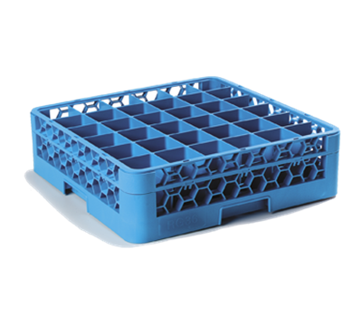 Carlisle 36-Compartment Blue Glass Rack with 1 Blue Extender