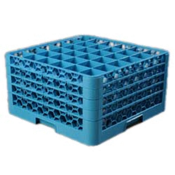 Carlisle 36-Compartment Blue Glass Rack with 4 Blue Extenders