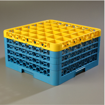 Carlisle 36-Compartment Blue Glass Rack with 4 Yellow Extenders