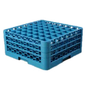 Carlisle 49-Compartment Blue Glass Rack with 3 Blue Extenders