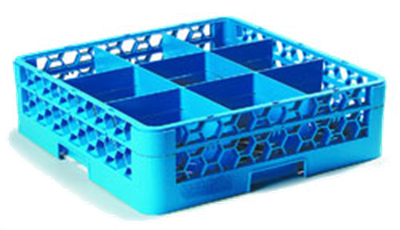 Carlisle 9-Compartment Blue Glass Rack with 1 Blue Extender