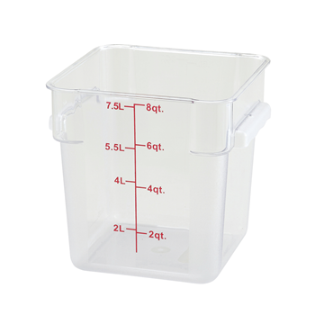 Winco PCSC-8C 8 qt Polycarbonate Square Food Storage Container