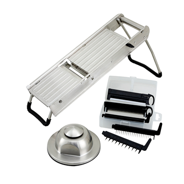 Winco MDL-15 Mandoline Slicer Set with Stainless Steel Hand Guard & Blade Set