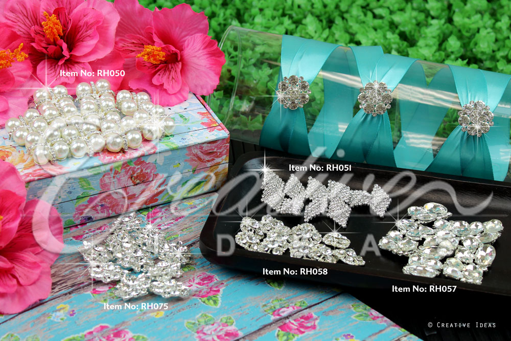 Silver Rhinestone Buttons-Sold by 10 pcs