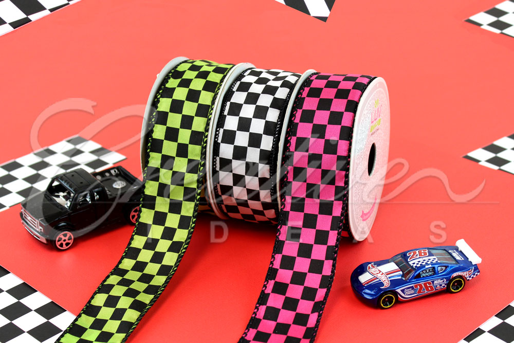 Black Checkered Ribbons-10 Yards
