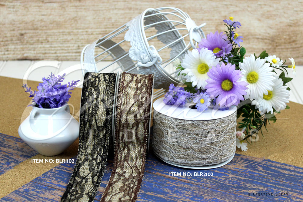 Faux Burlap Lace Ribbons-10 Yards