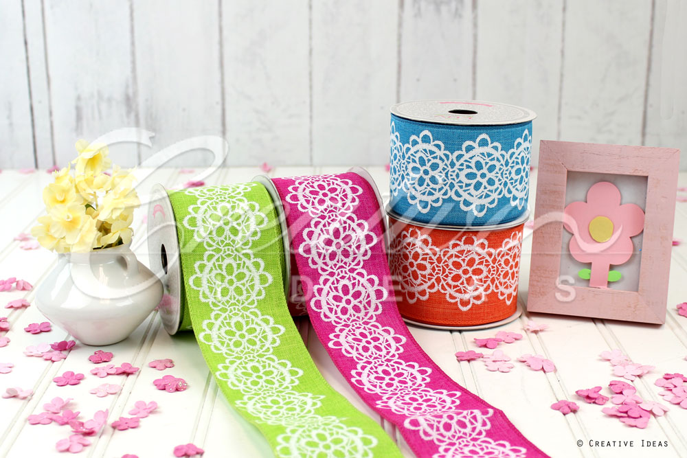 Canvas Flowery Lace Ribbon-10 Yards