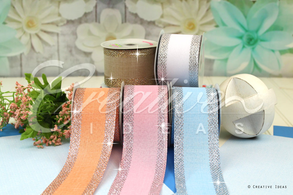 Canvas Glitter Criss Cross Edge Ribbons-10 Yards