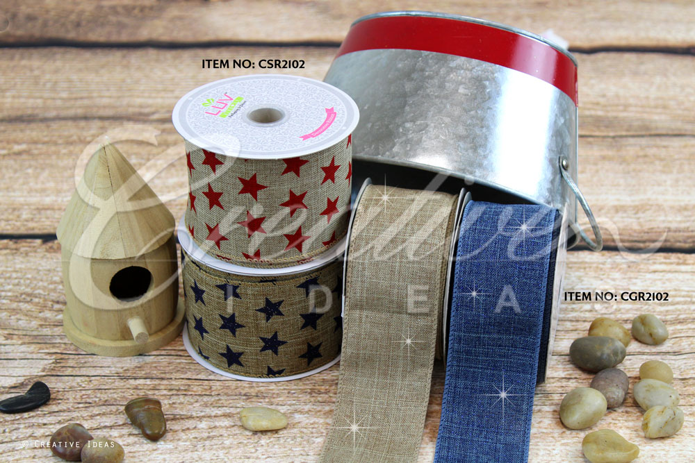 Canvas Glam & Canvas Star Ribbons-10 Yards