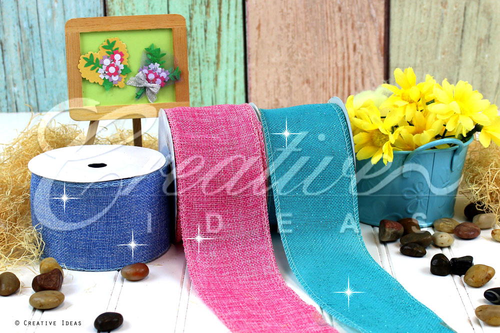 Glitter Faux Burlap Ribbons-10 Yards