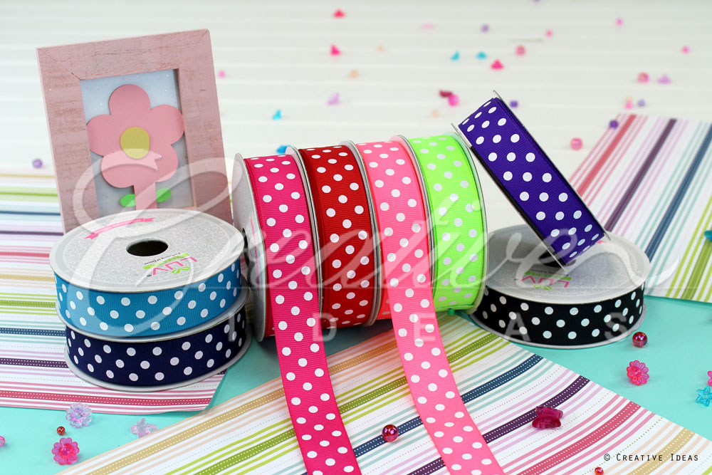 White Polka Dots Ribbons-10 Yards
