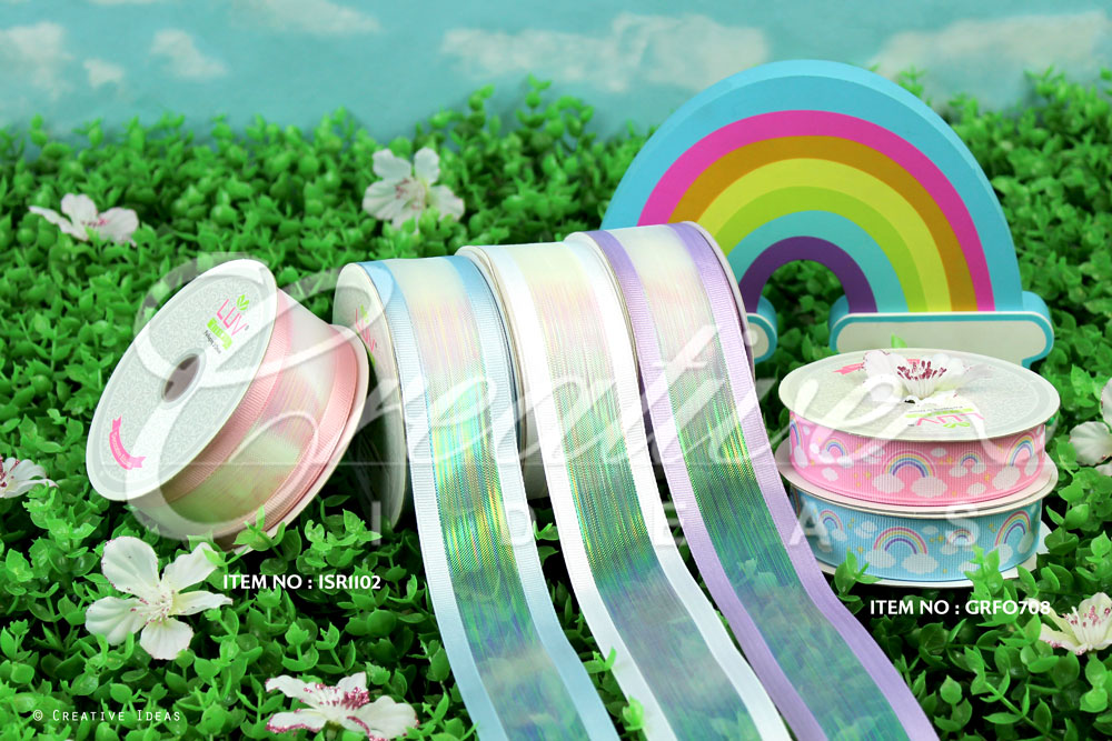Iridescent Shimmering Ribbons & Grosgrain Rainbow Cloud Ribbons-10 Yards