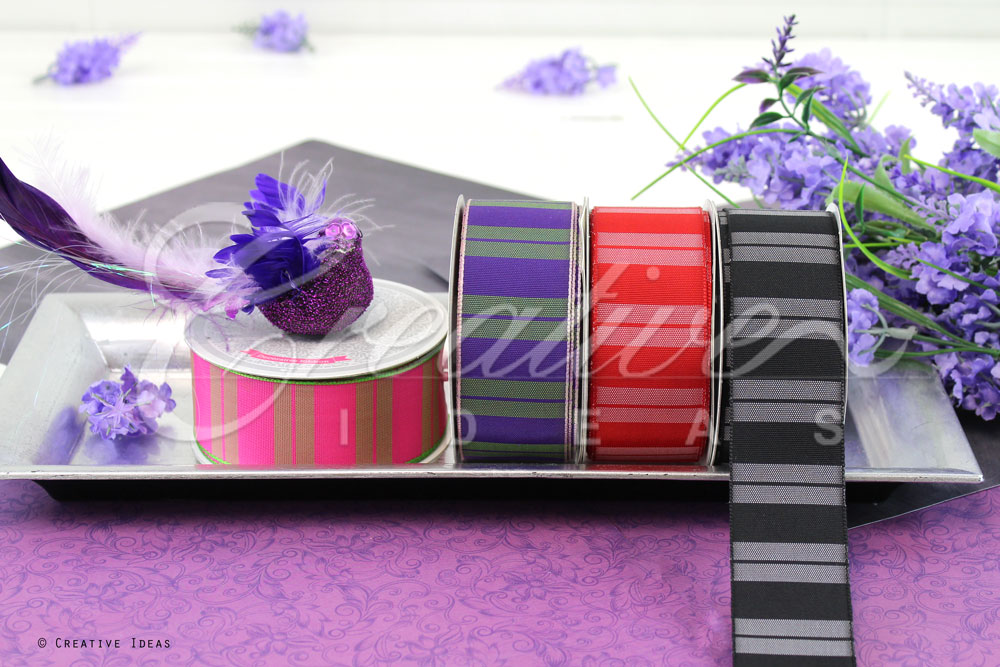 Dual Colors Vertical Lines Ribbons-10 Yards